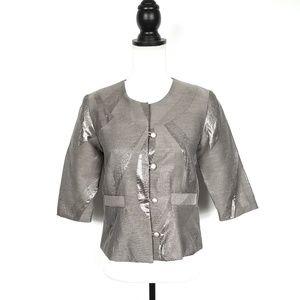 Anthropologie Hunter Dixon Metallic Gray Jacket